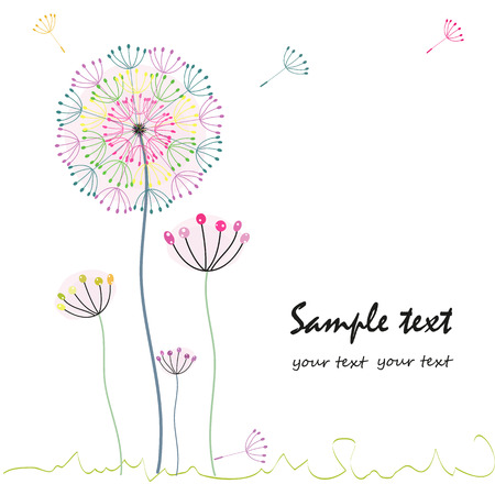 dandelion flower: Colorful dandelion flower greeting card vector