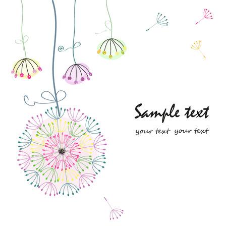 Hanging dandelion flower greeting card vector
