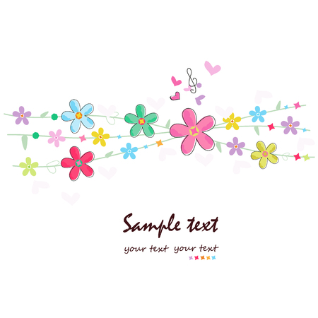Summer flowers decorative greeting card 向量圖像