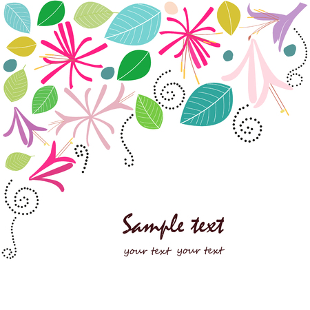 honeysuckle: Honeysuckle flower greeting card vector Illustration