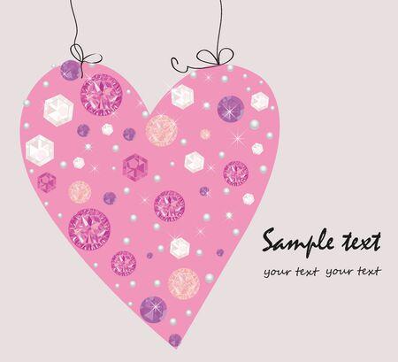 Diamond, pearls decorative pink heart greeting card vector Illustration
