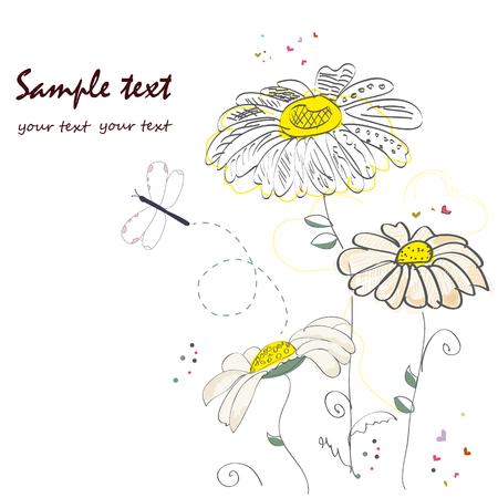 pâquerette: Romantique fleur de marguerite vecteur de carte de voeux