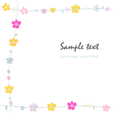 greeting: Simple flowers decorative frame greeting card vector