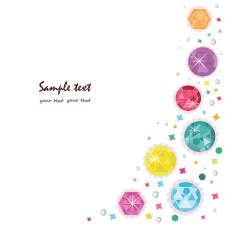 Colorful diamonds greeting card vector background Ilustração