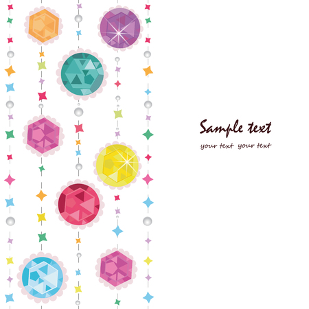 Abstract colorful diamonds greeting card with pearls vector