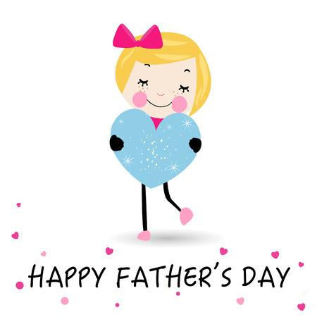 holding mother's hand: Happy Fathers day girl holding heart Illustration