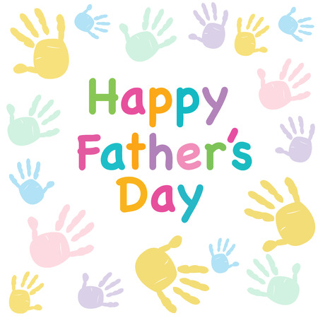 fun day: Happy Fathers day with hand prints greeting card Illustration