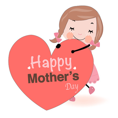 Mothers day greeting card girl holding heart Vector