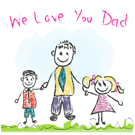 father: We love you Dad Fathers Day greeting card Illustration