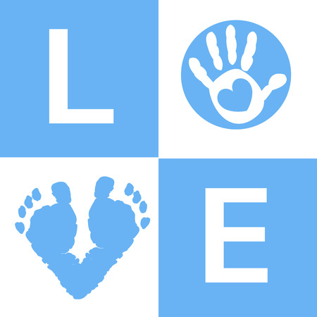 baby hand: Baby hand and foot prints baby boy arrival card