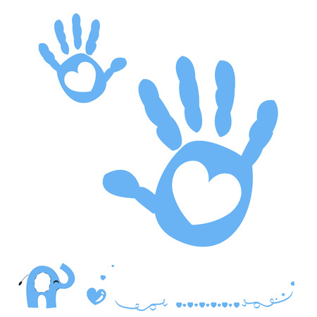 baby in hands: Baby boy arrival card with heart and hand prints elephant