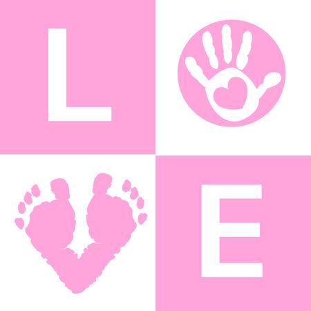 huella pie: Bebé niña tarjeta de huellas de manos y pies a la llegada Vectores