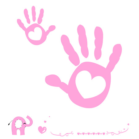Baby girl arrival card with heart and hand prints elephant Ilustração