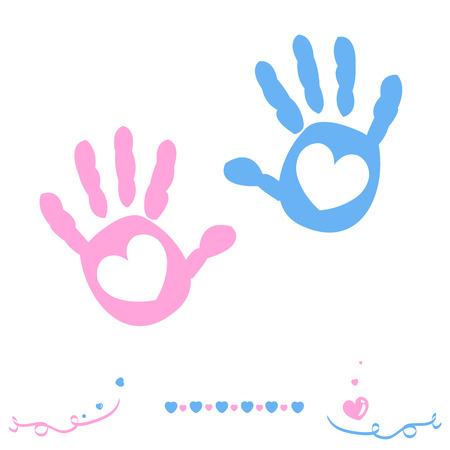 Doble niña y la llegada del bebé tarjeta de felicitación con huellas de manos Foto de archivo - 42706553