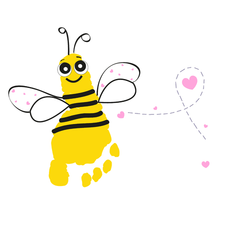 Bee with foot prints background