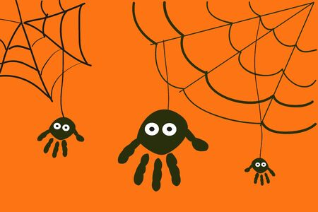 Spiders halloween background with hand prints Çizim