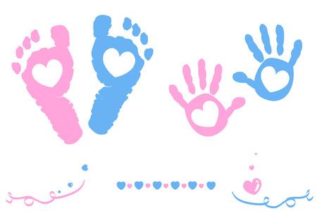huella pie: La niña y del muchacho gemelo pies y tarjeta de impresión de la mano a la llegada Vectores