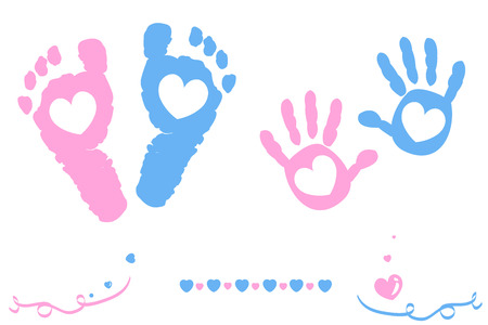 green footprint: Twin baby girl and boy feet and hand print card on arrival