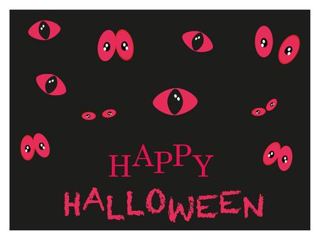 spooky eyes: Spooky red eyes glowing in the dark Happy Halloween card