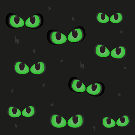 Green cat eyes glowing in the dark spooky 向量圖像