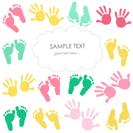 Colorful baby footprints and hands greeting card for kids