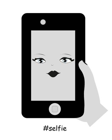 woman on phone: Woman taking a self portrait with phone Illustration