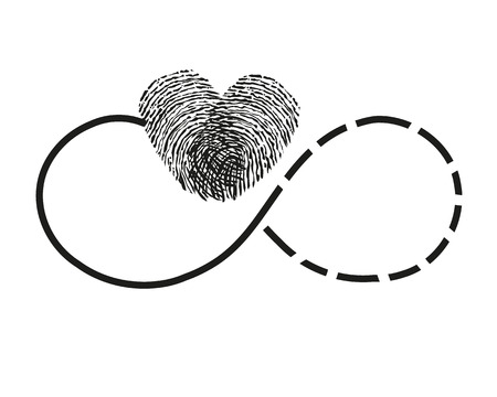 finger print: Eternity with finger print heart