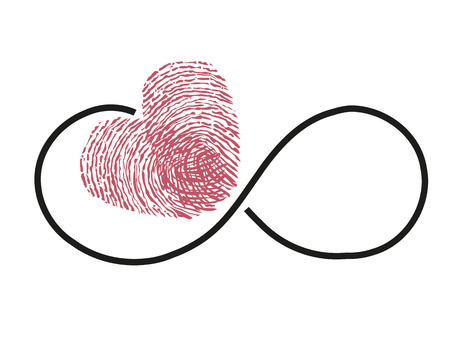 Eternity with red heart vector finger print Ilustrace