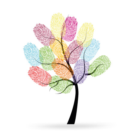 Tree with colorful finger prints