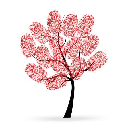 finger prints: �rbol con las huellas digitales de color rojo