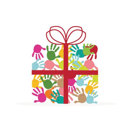farther: Gift box hand prints Illustration