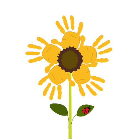 sun flowers: Sun flowers with baby hand print Illustration