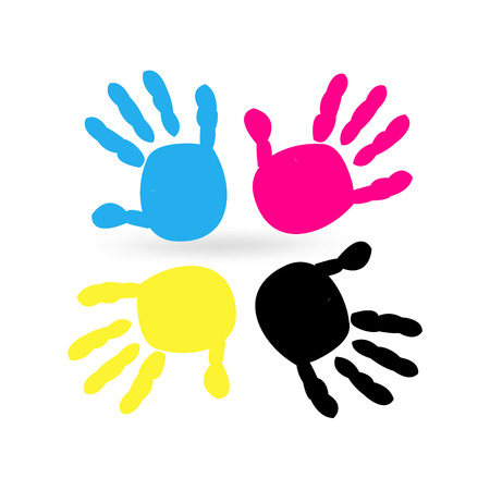 four color printing: Colourful hand prints