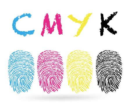 finger prints: finger prints with CMYK colors