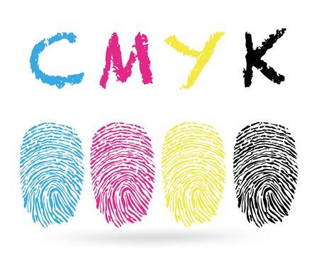 finger prints: las huellas digitales con colores CMYK Vectores