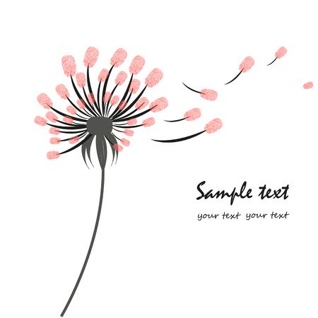 Dandelion greeting card with finger prints  イラスト・ベクター素材