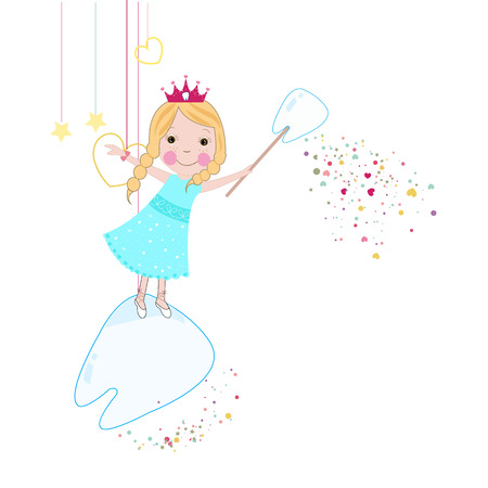 godmother: Toothfairy with hearts and stars background