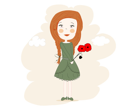 corn poppy: Little girl with a dream of every hand corner popy vector