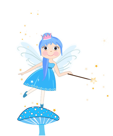 beauty queen: Beautiful blue fairy girl vector background
