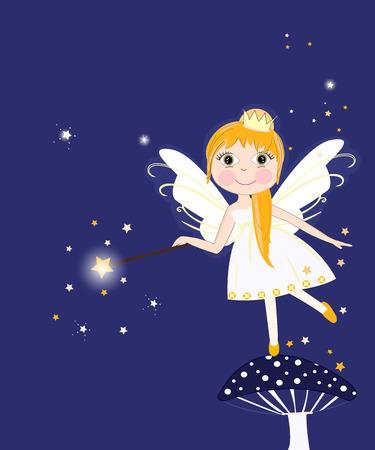 children art: Beautiful night fairy girl vector background