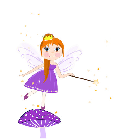 fairy tale princess: Beautiful purple fairy girl vector background