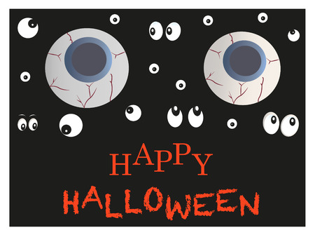 Glowing eyes scary Halloween greeting card vector
