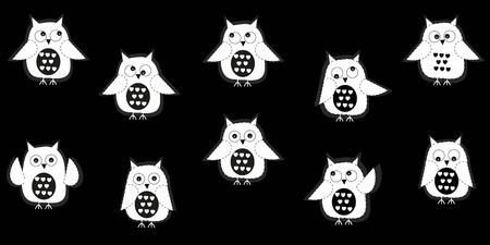 owl illustration: White owl with black background vector
