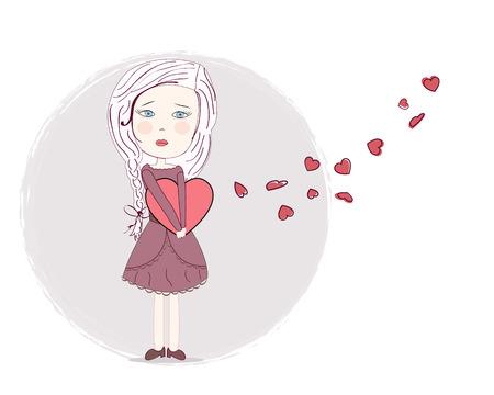 love hurts: Increased heart broken sad girl vector