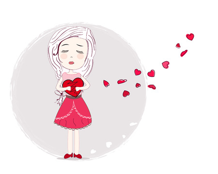 love hurts: Holding increased heart sad girl vector background