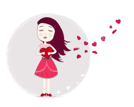 Muchacha de la tristeza del corazón sosteniendo arte vectorial de fondo Foto de archivo - 44583943