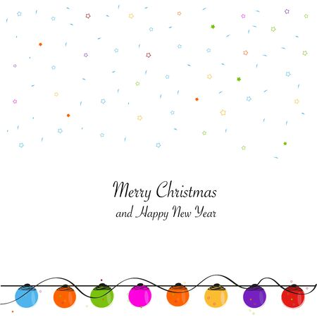 christmas light bulbs: Christmas light bulbs Merry Christmas and happy new year greeting card vector