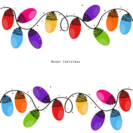 Colorful Christmas light bulb new year greeting card vector