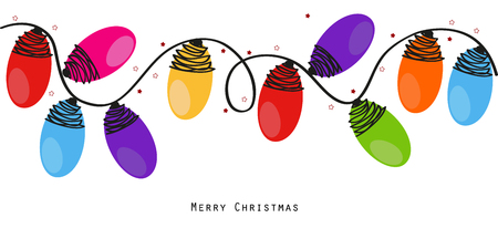 christmas wallpaper: Colorful Christmas light bulbs vector background
