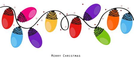bordes decorativos: Navidad colorida bombillas de vectores de fondo